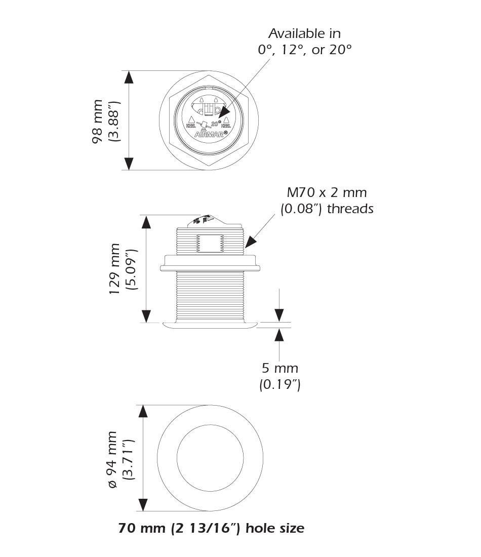 Airmar SS75 Chirp Transducer - Garmin 8-Pin - 0 Deg Medium